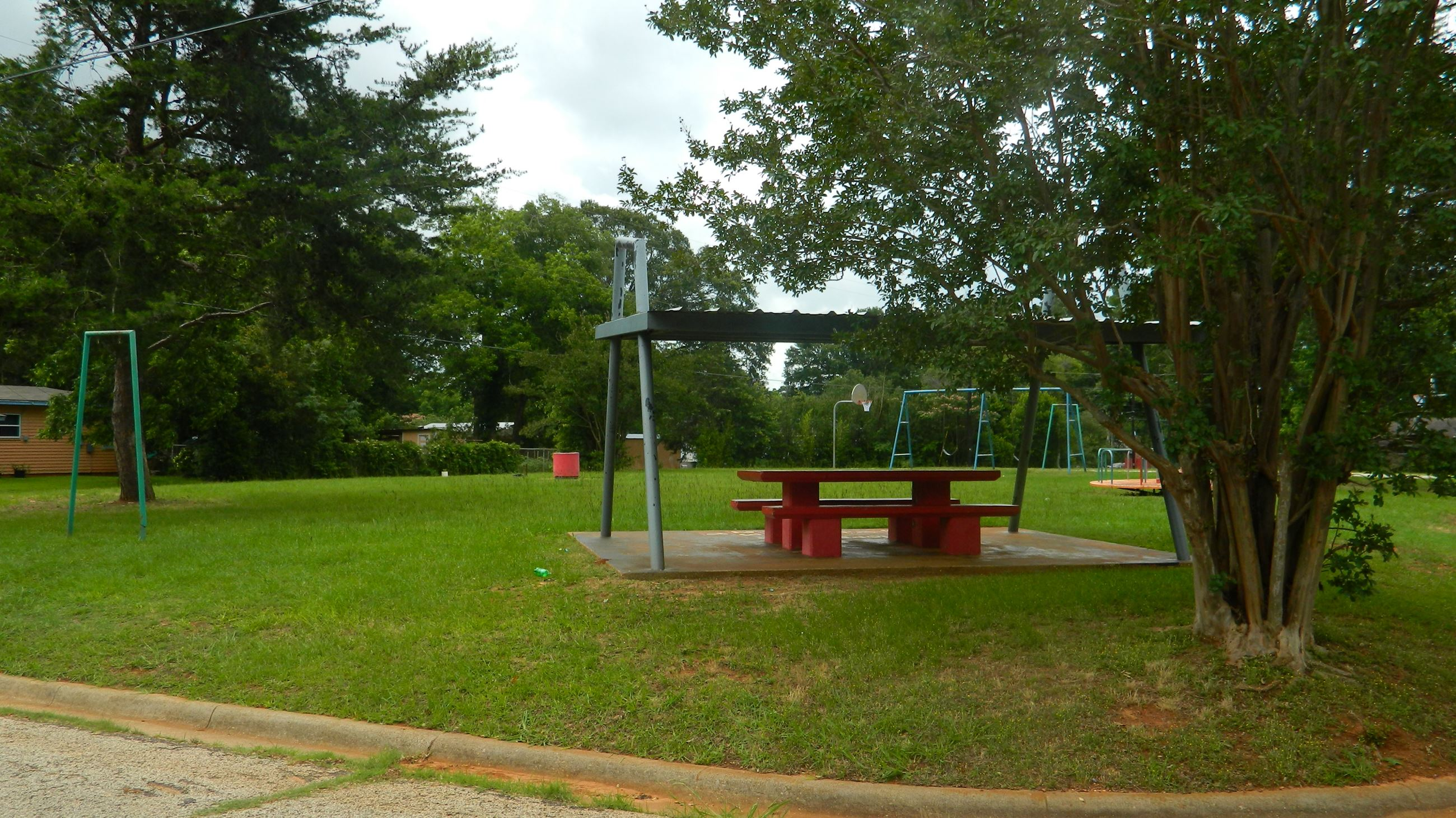A Shelter with Benches at Loves Park Playground