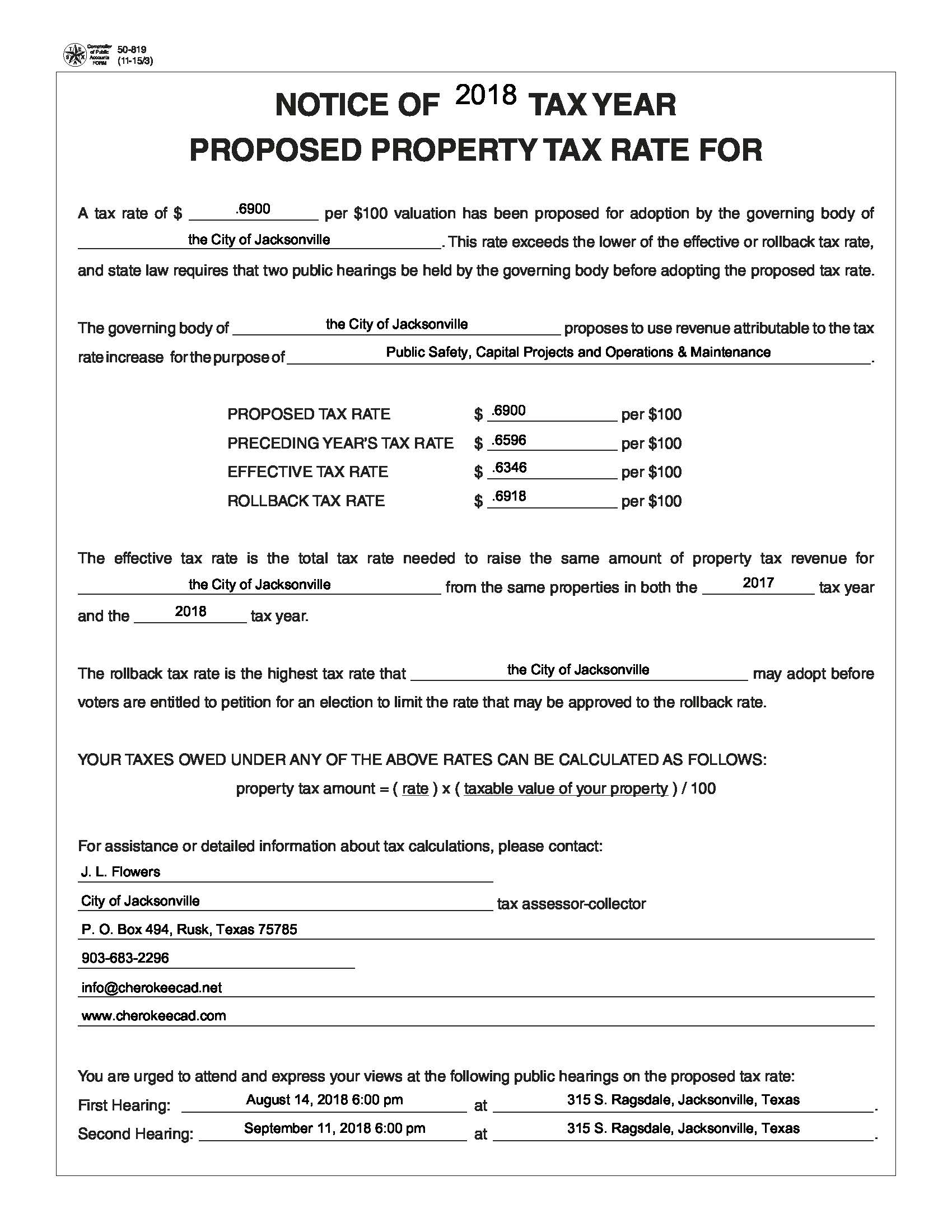 50-819 Rate Notice Form Jville Adv