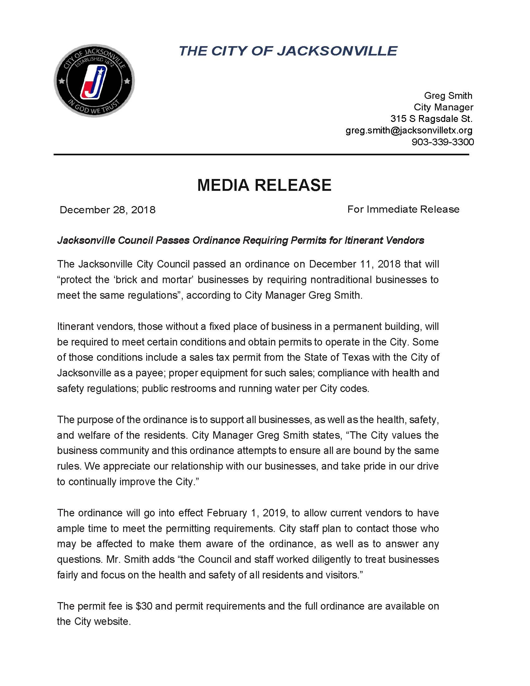 Media Release  Itinerant Ordinance City of Jacksonville 12_28_2018_Page_1