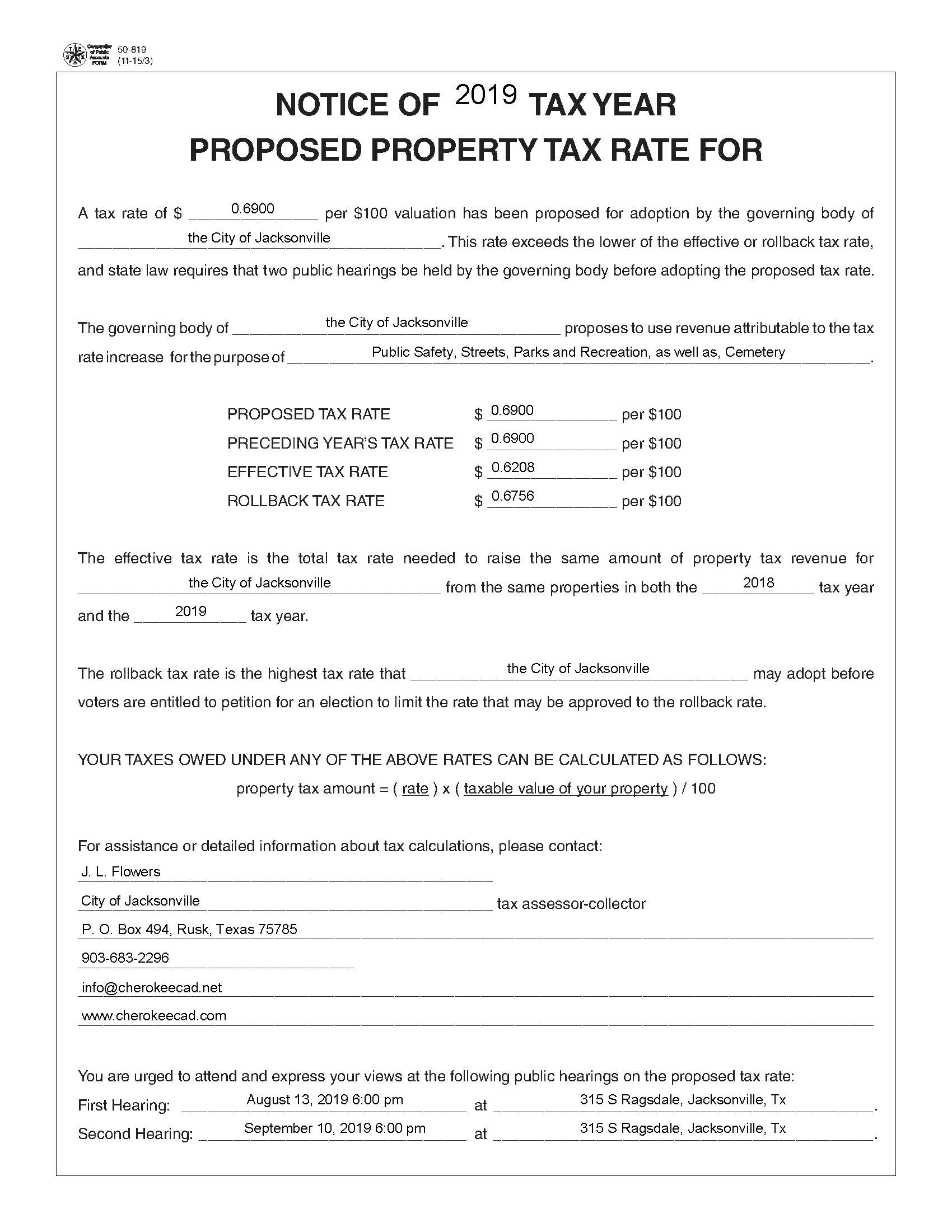 2019-2020 Tax Rate Notice